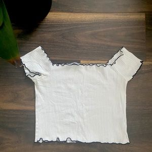 Small White off the shoulder Crop Top- Zara